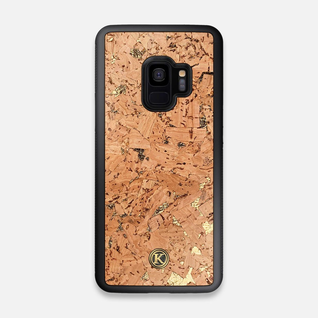 Front view of the gold fleck natural cork Galaxy S9 Case by Keyway Designs