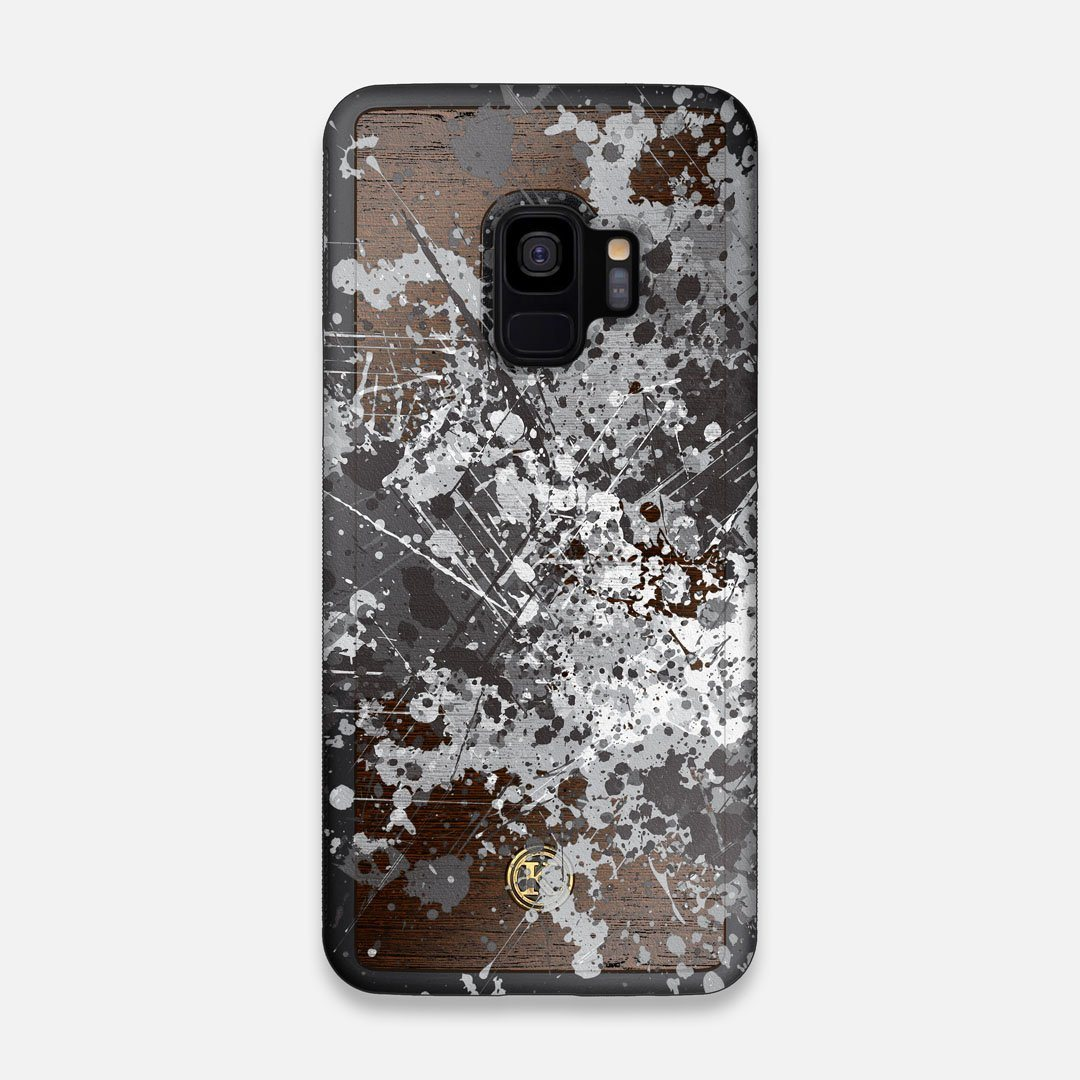 Front view of the aggressive, monochromatic splatter pattern overprintedprinted Wenge Wood Galaxy S9 Case by Keyway Designs