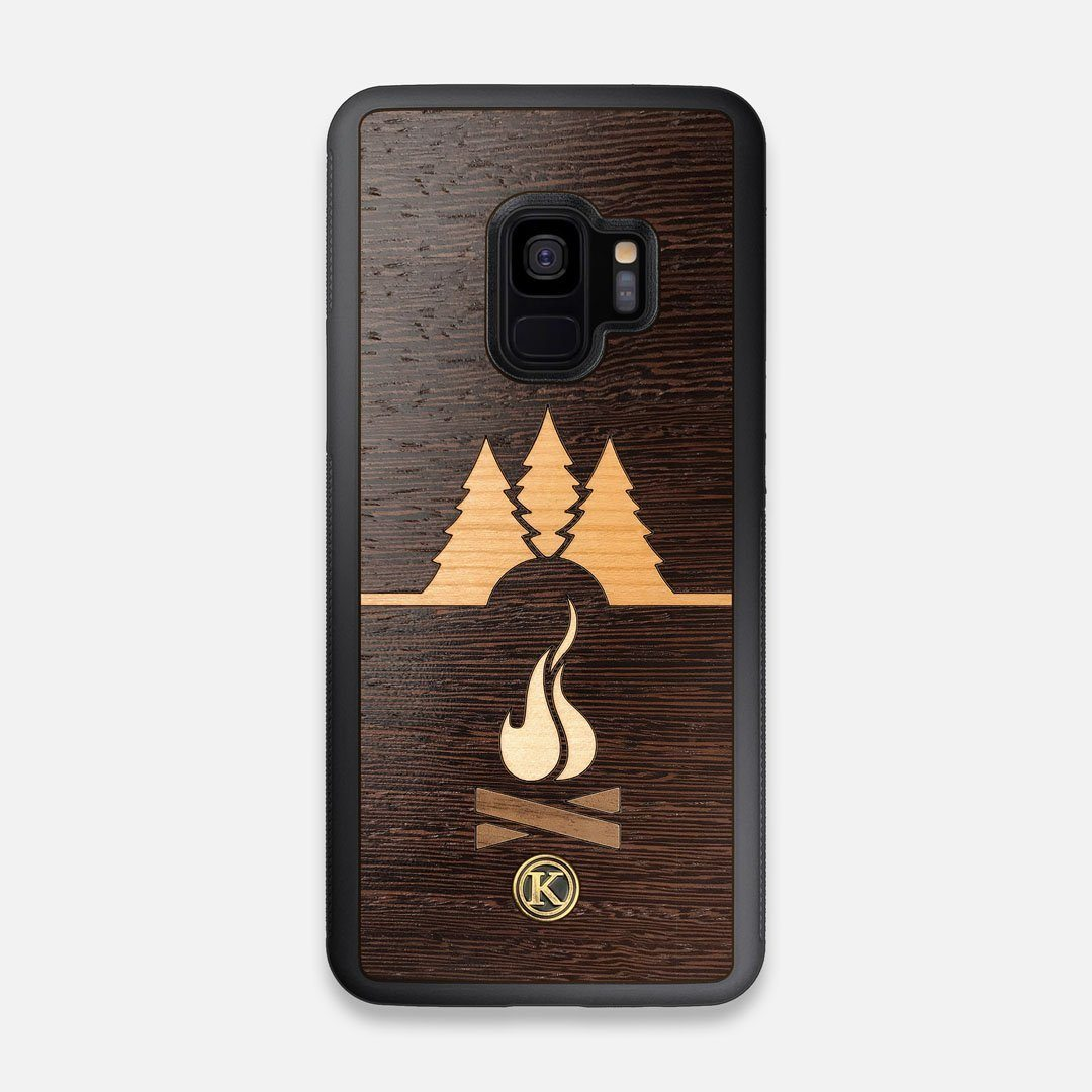 Front view of the Nomad Campsite Wood Galaxy S9 Case by Keyway Designs
