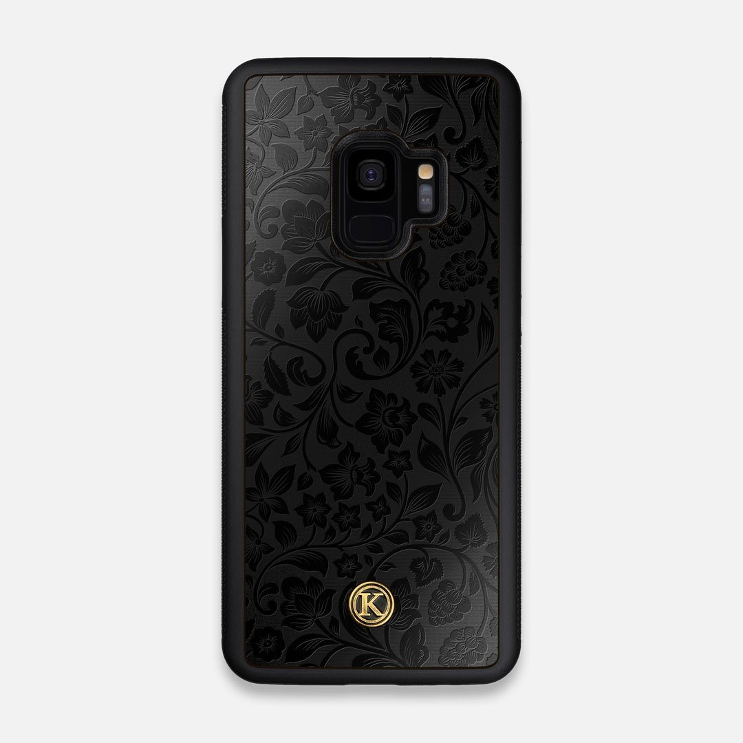 Front view of the highly detailed midnight floral engraving on matte black impact acrylic Galaxy S9 Case by Keyway Designs
