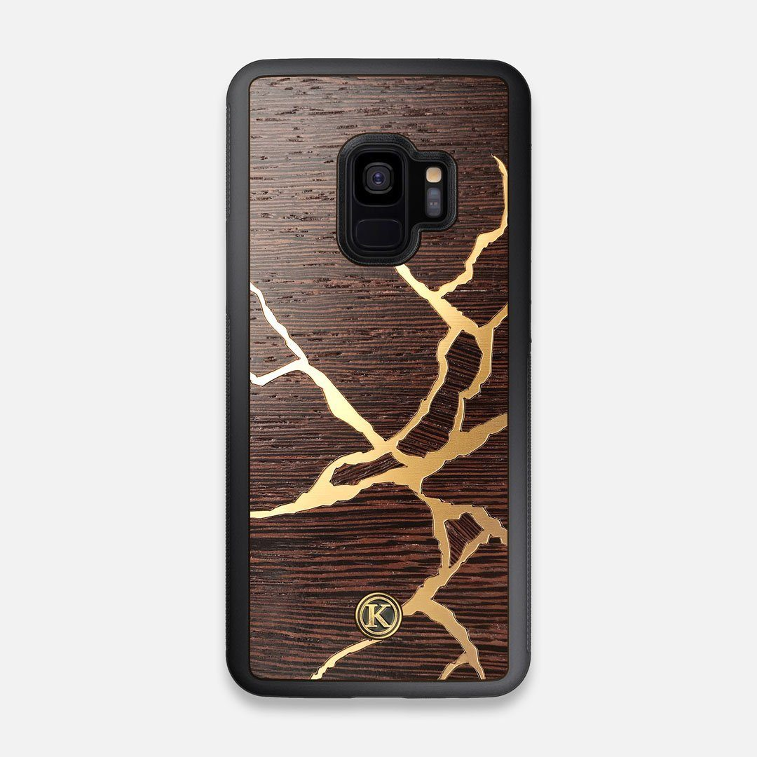Front view of the Kintsugi inspired Gold and Wenge Wood Galaxy S9 Case by Keyway Designs