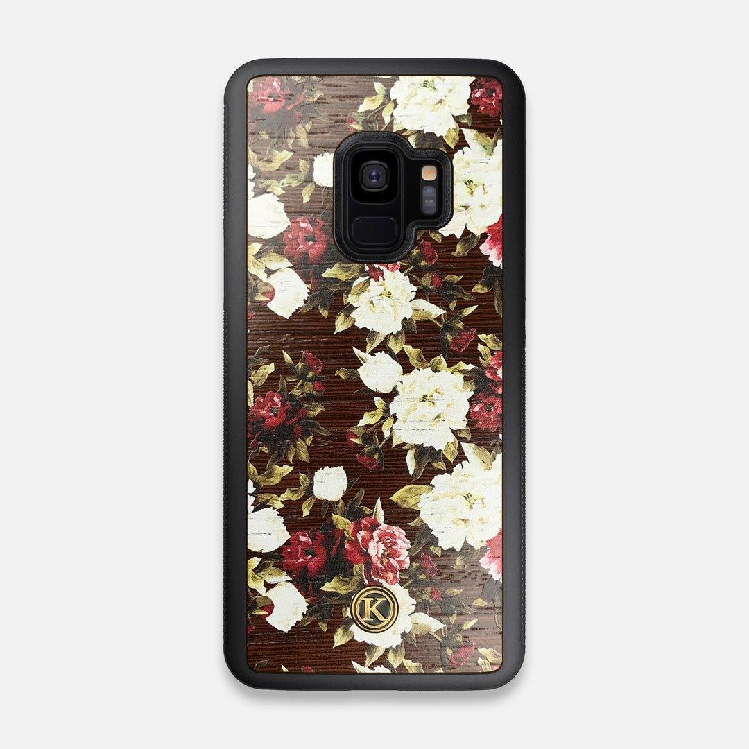 Front view of the Rose white and red rose printed Wenge Wood Galaxy S9 Case by Keyway Designs