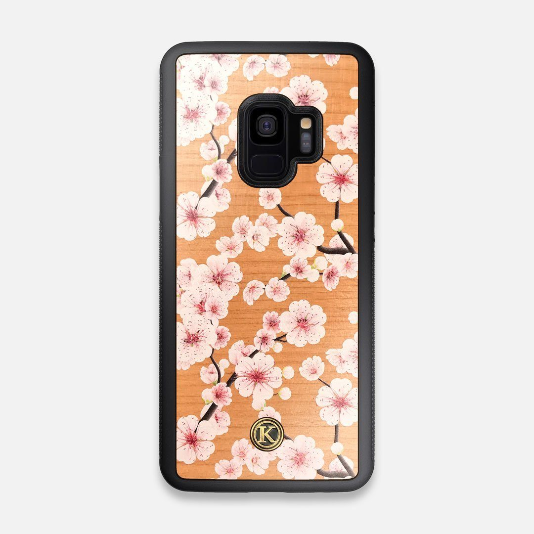 Front view of the Sakura Printed Cherry-blossom Cherry Wood Galaxy S9 Case by Keyway Designs