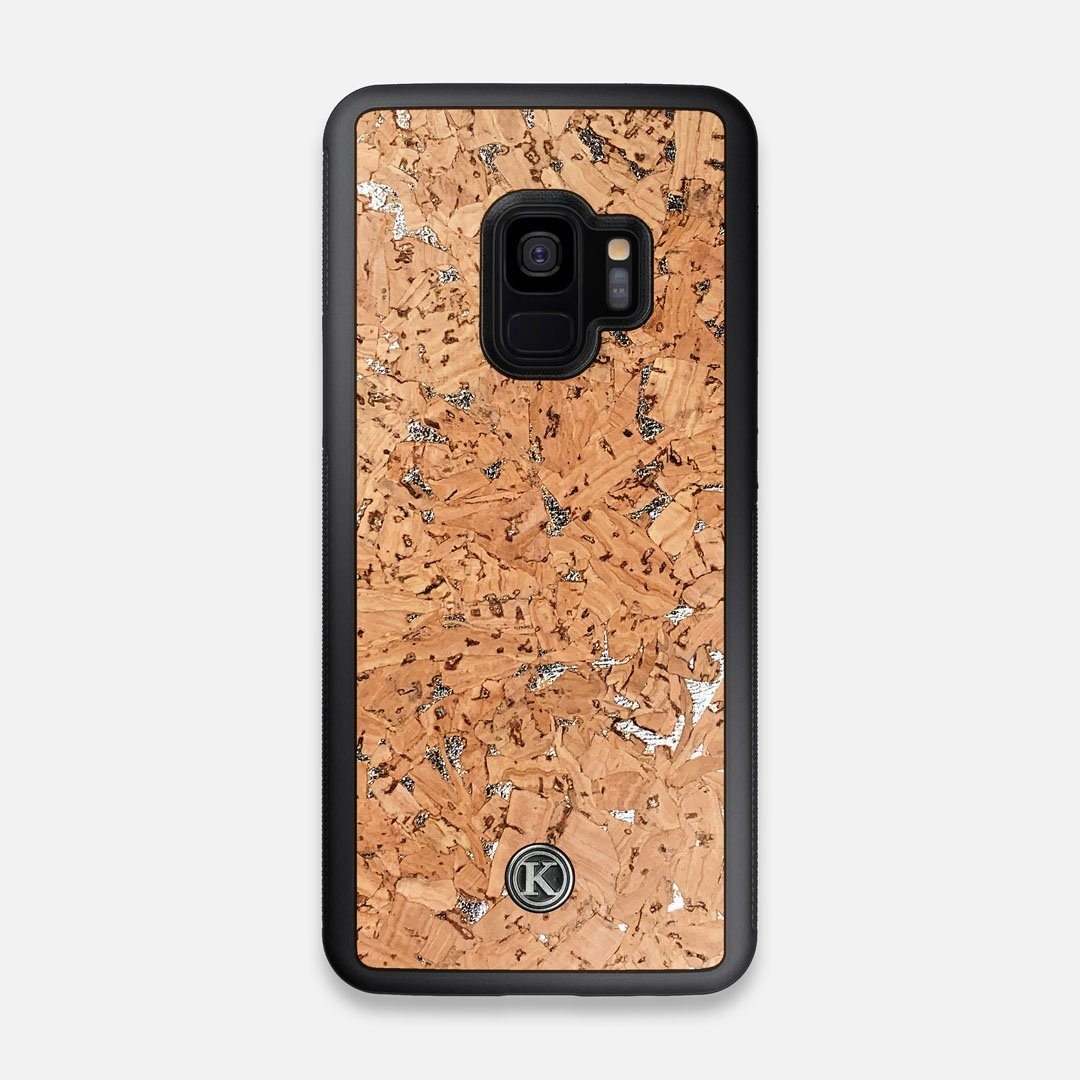 Front view of the silver fleck natural cork Galaxy S9 Case by Keyway Designs