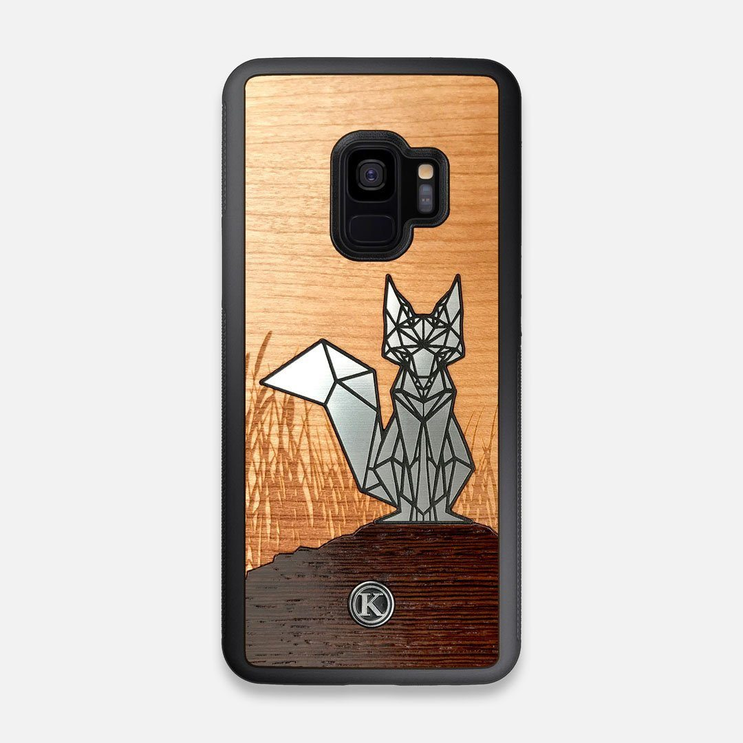Front view of the Silver Fox & Cherry Wood Galaxy S9 Case by Keyway Designs