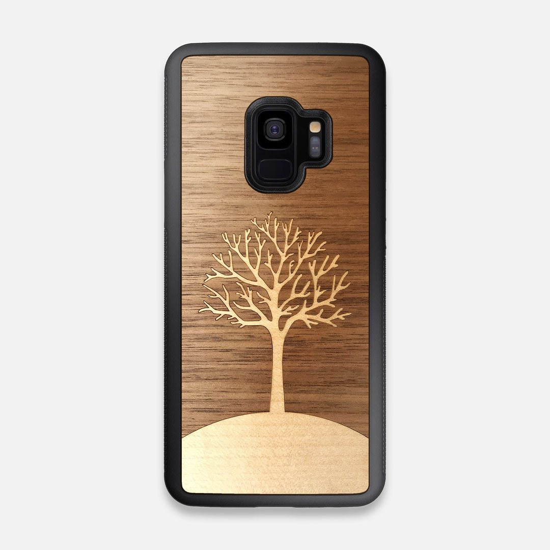 Front view of the Tree Of Life Walnut Wood Galaxy S9 Case by Keyway Designs