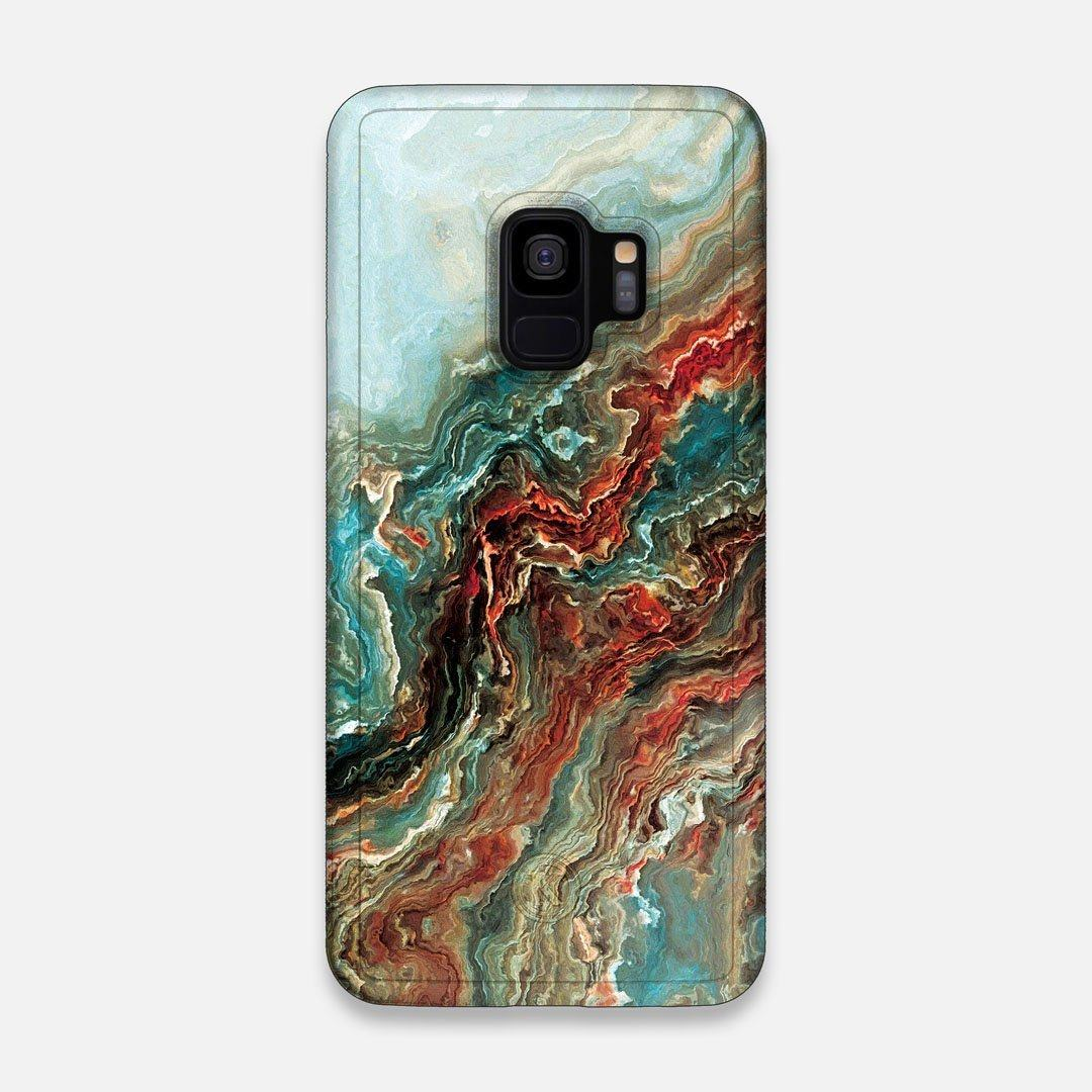 Front view of the vibrant and rich Red & Green flowing marble pattern printed Wenge Wood Galaxy S9 Case by Keyway Designs