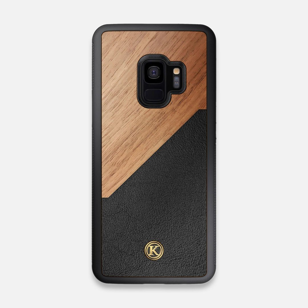 Front view of the Walnut Rift Elegant Wood & Leather Galaxy S9 Case by Keyway Designs