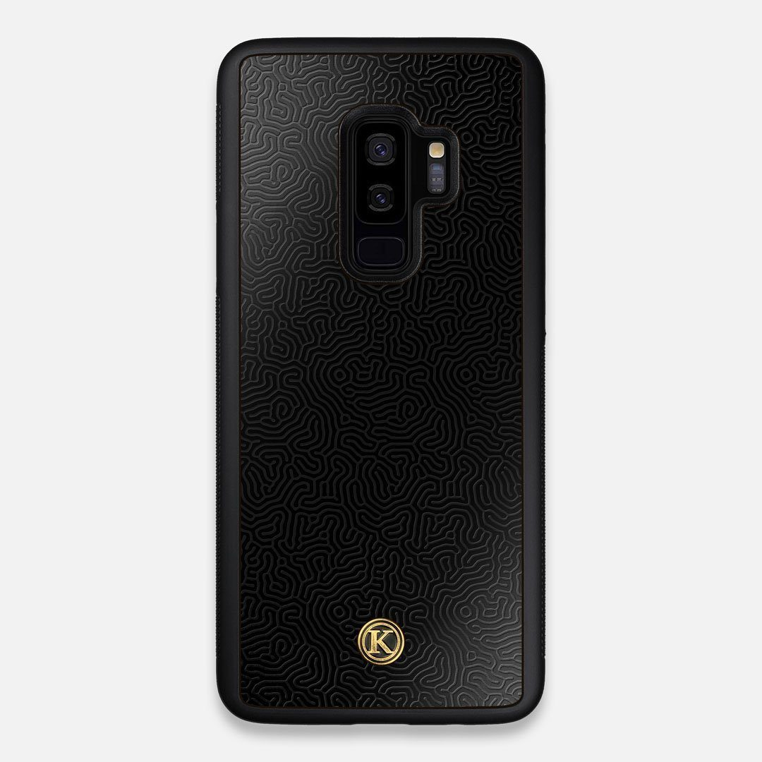 Front view of the highly detailed organic growth engraving on matte black impact acrylic Galaxy S9+ Case by Keyway Designs