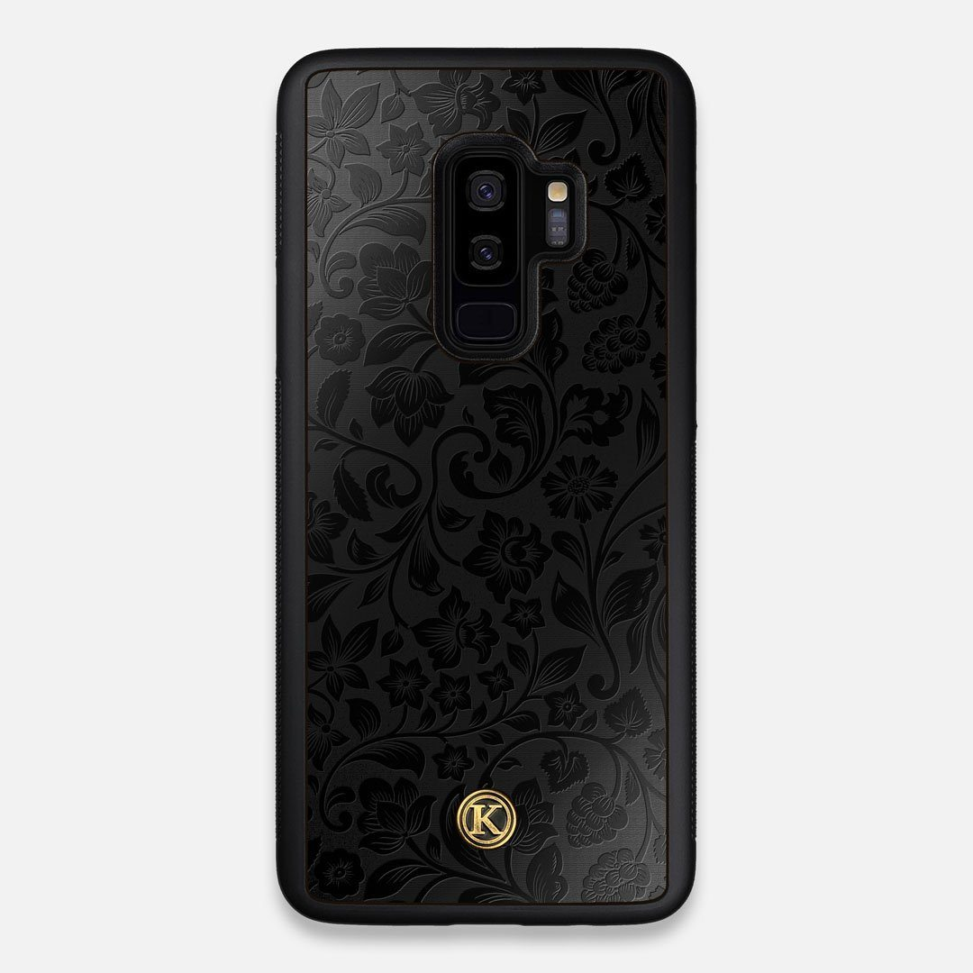 Front view of the highly detailed midnight floral engraving on matte black impact acrylic Galaxy S9+ Case by Keyway Designs