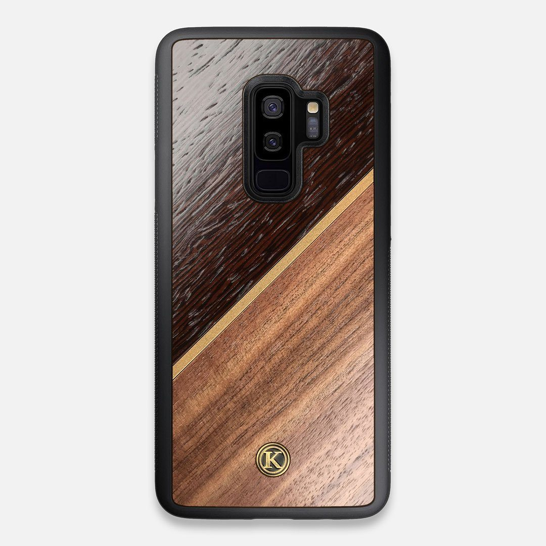 Front view of the Alium Walnut, Gold, and Wenge Elegant Wood Galaxy S9+ Case by Keyway Designs
