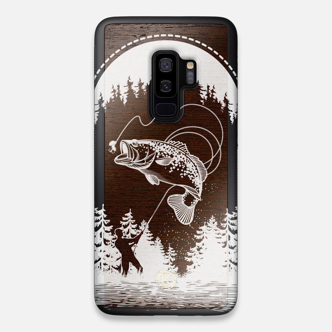 Front view of the high-contrast spotted bass printed Wenge Wood Galaxy S9+ Case by Keyway Designs