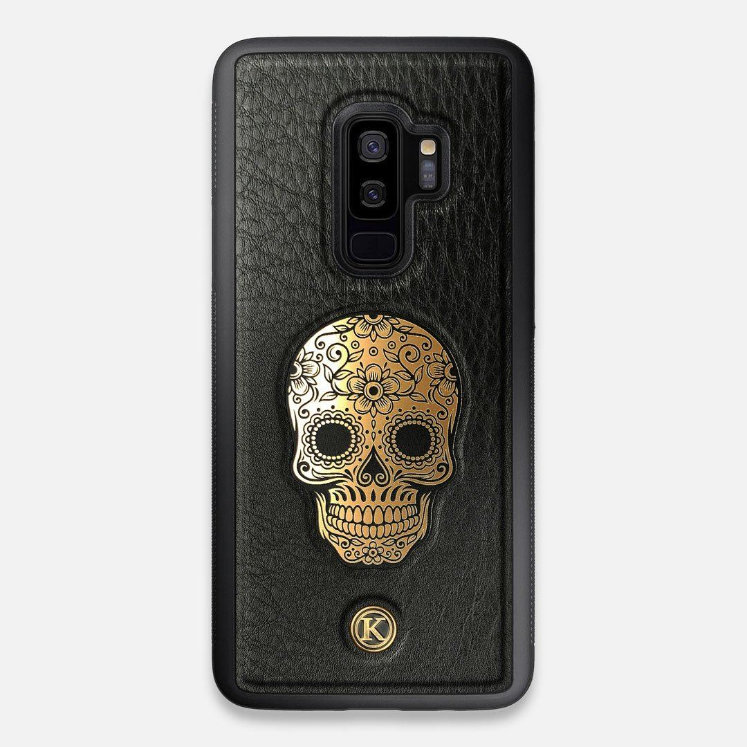 Front view of the Auric Black Leather Galaxy S9+ Case by Keyway Designs