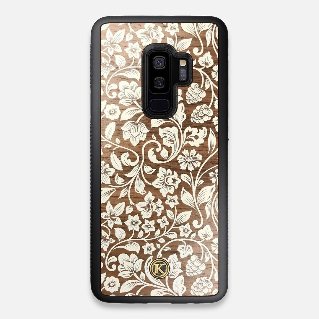 Front view of the Blossom Whitewash Wood Galaxy S9+ Case by Keyway Designs