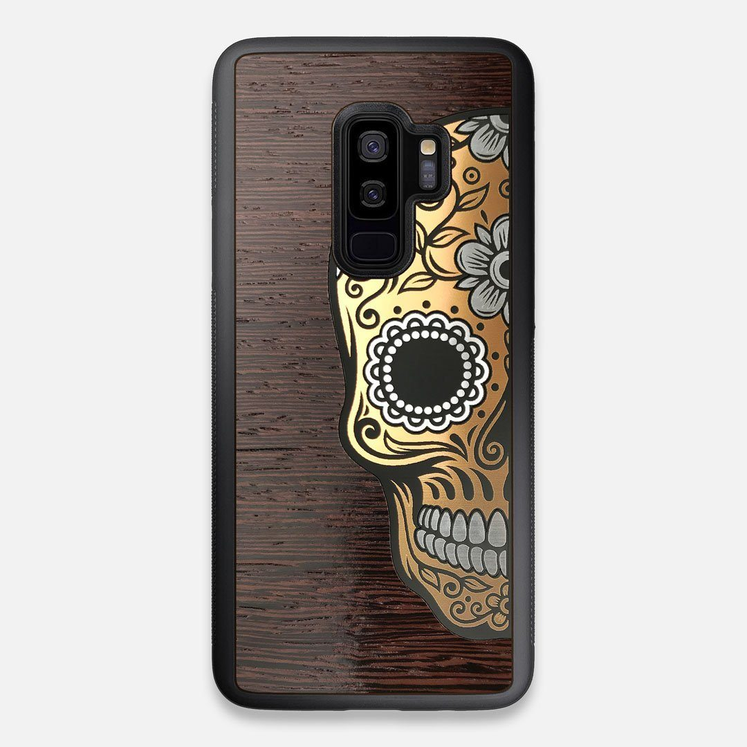 Front view of the Calavera Wood Sugar Skull Wood Galaxy S9+ Case by Keyway Designs