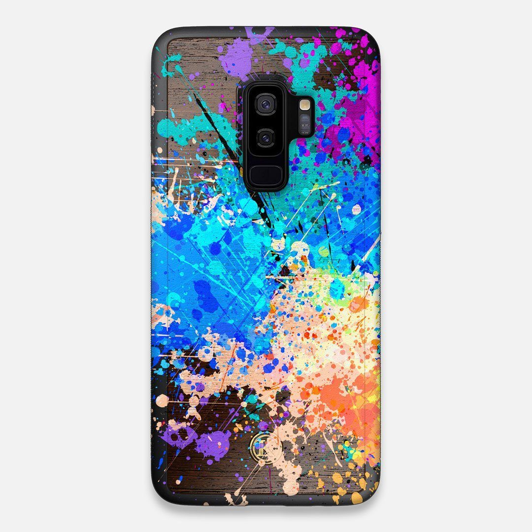 Front view of the realistic paint splatter 'Chroma' printed Wenge Wood Galaxy S9+ Case by Keyway Designs