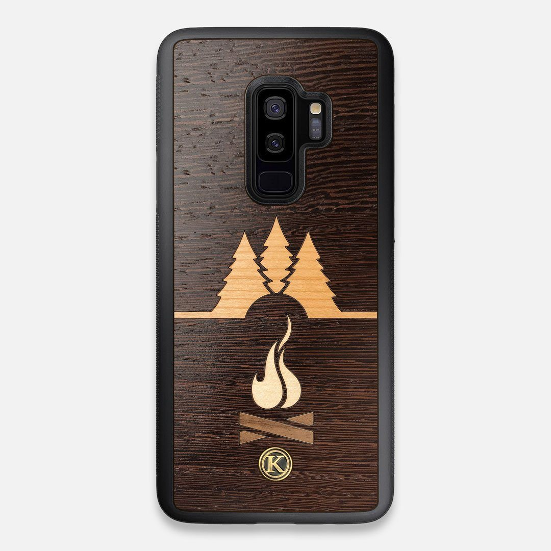 Front view of the Nomad Campsite Wood Galaxy S9+ Case by Keyway Designs