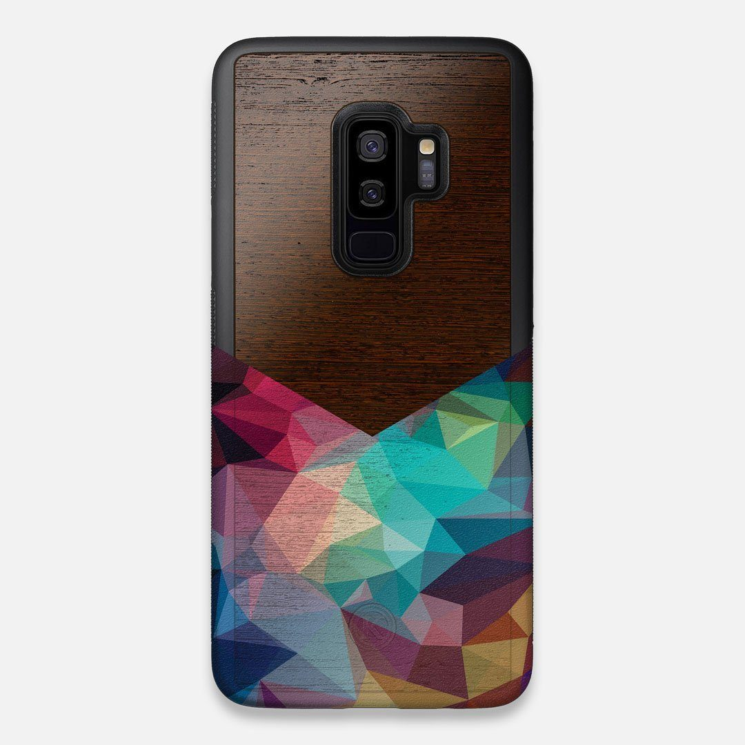 Front view of the vibrant Geometric Gradient printed Wenge Wood Galaxy S9+ Case by Keyway Designs