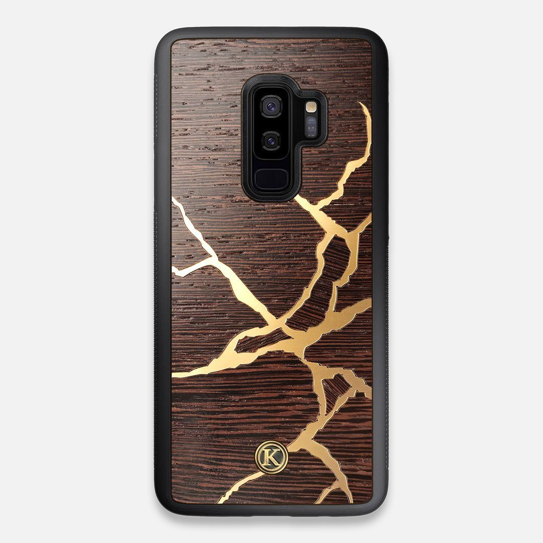 Front view of the Kintsugi inspired Gold and Wenge Wood Galaxy S9+ Case by Keyway Designs