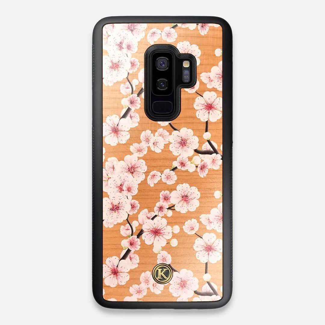 Front view of the Sakura Printed Cherry-blossom Cherry Wood Galaxy S9+ Case by Keyway Designs