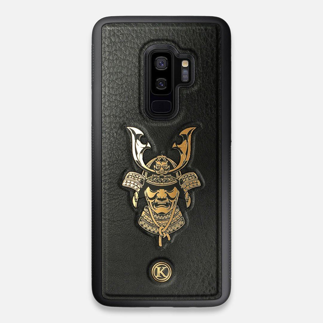 Front view of the Samurai Black Leather Galaxy S9+ Case by Keyway Designs