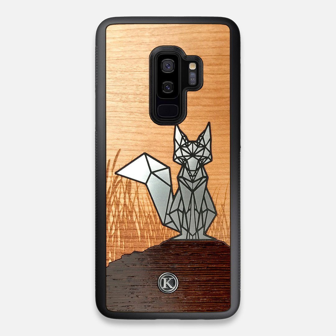 Front view of the Silver Fox & Cherry Wood Galaxy S9+ Case by Keyway Designs