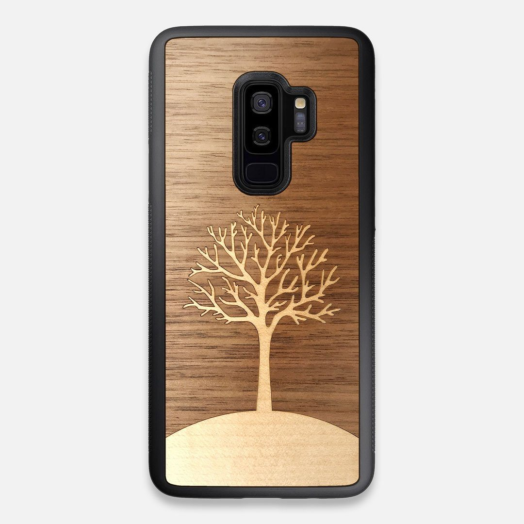 Front view of the Tree Of Life Walnut Wood Galaxy S9+ Case by Keyway Designs