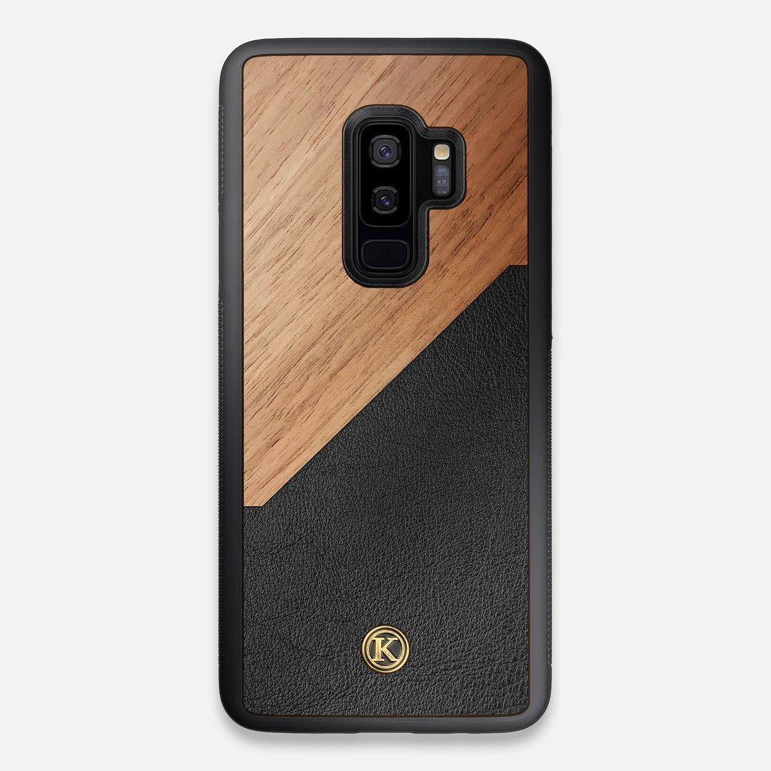 Front view of the Walnut Rift Elegant Wood & Leather Galaxy S9+ Case by Keyway Designs