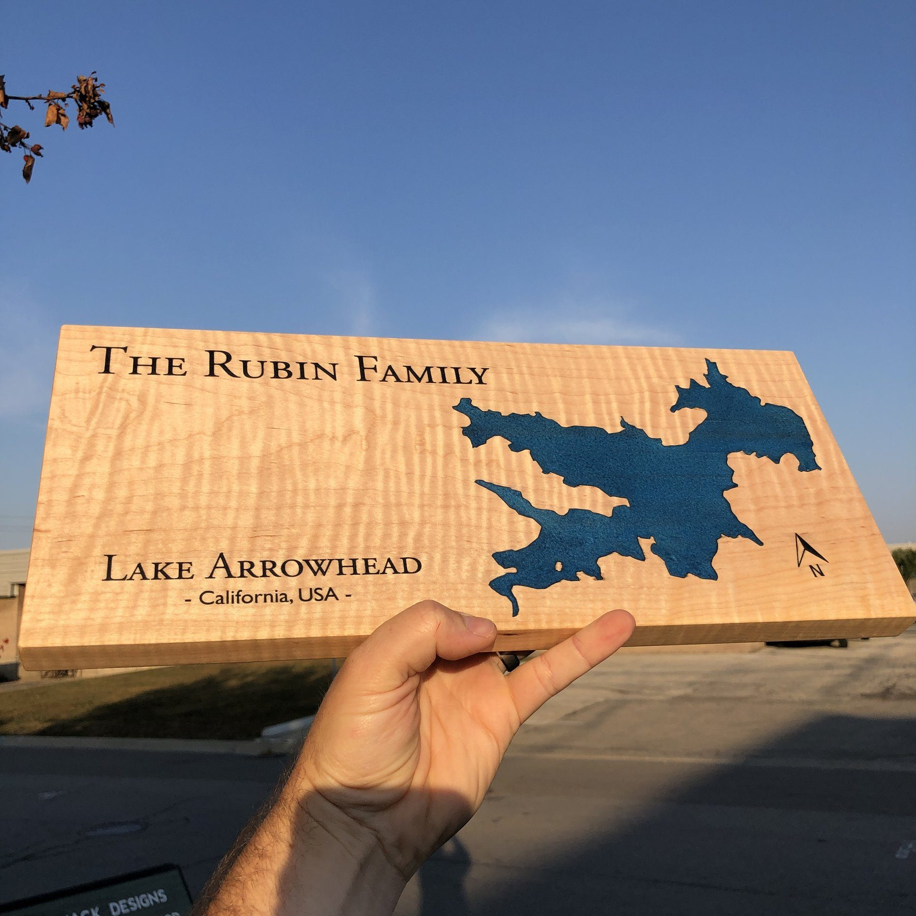 Lake Arrowhead on a custom Lake Sign using Blue Epoxy and Curly Maple by Keyway Designs