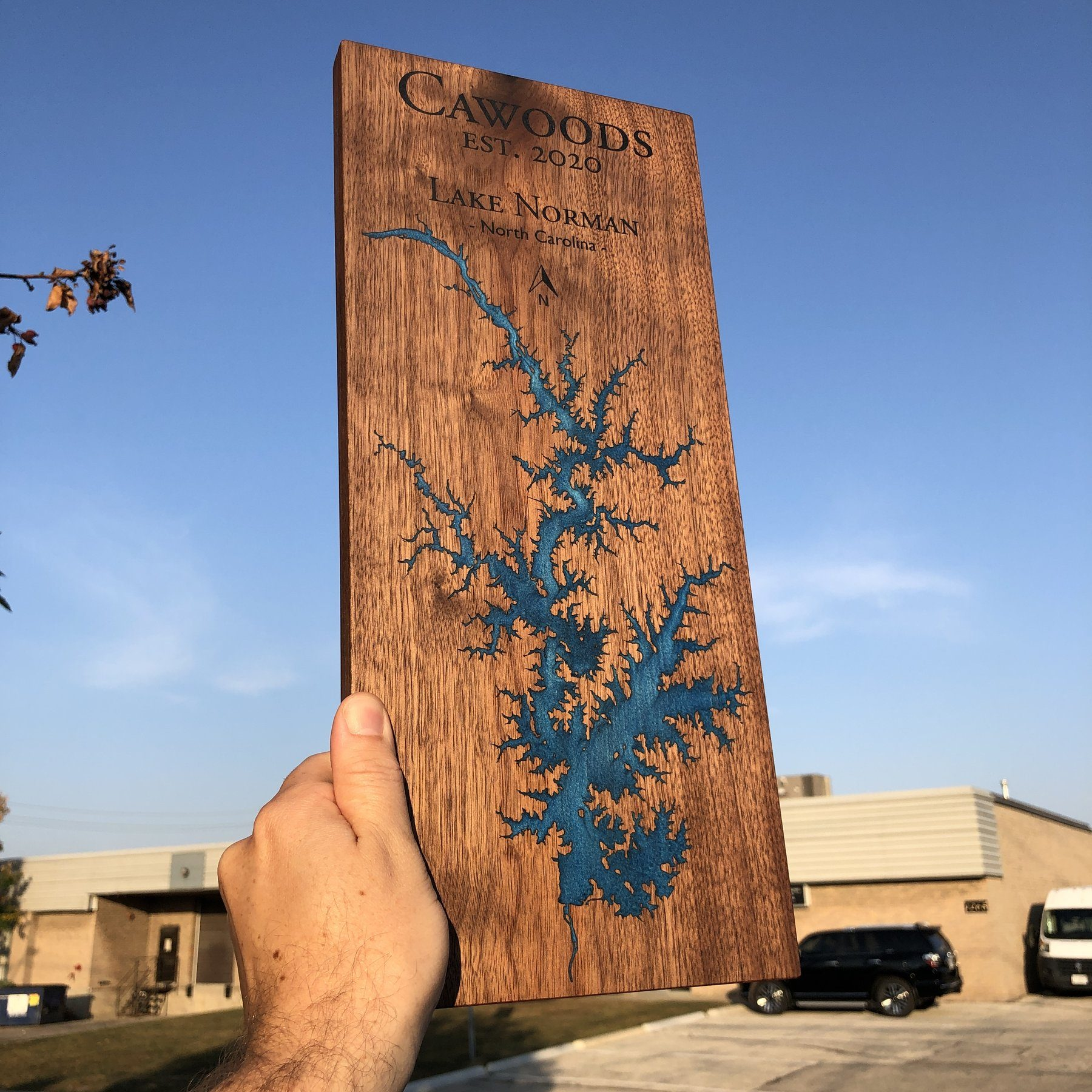 Detailed Laser Engraved Custom Lake Sign on Walnut with Blue Epoxy by Keyway Designs
