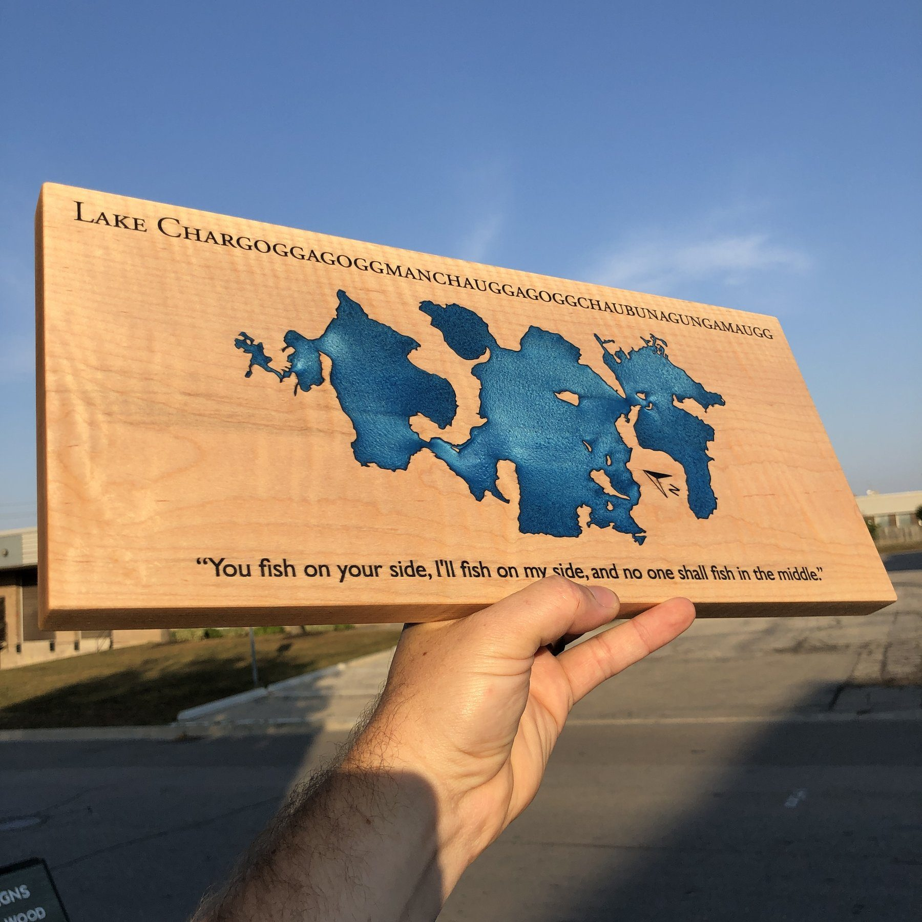 Longest Lake name in the Country on a custom Lake Sign using Curly Maple and Blue epoxy by Keyway Designs