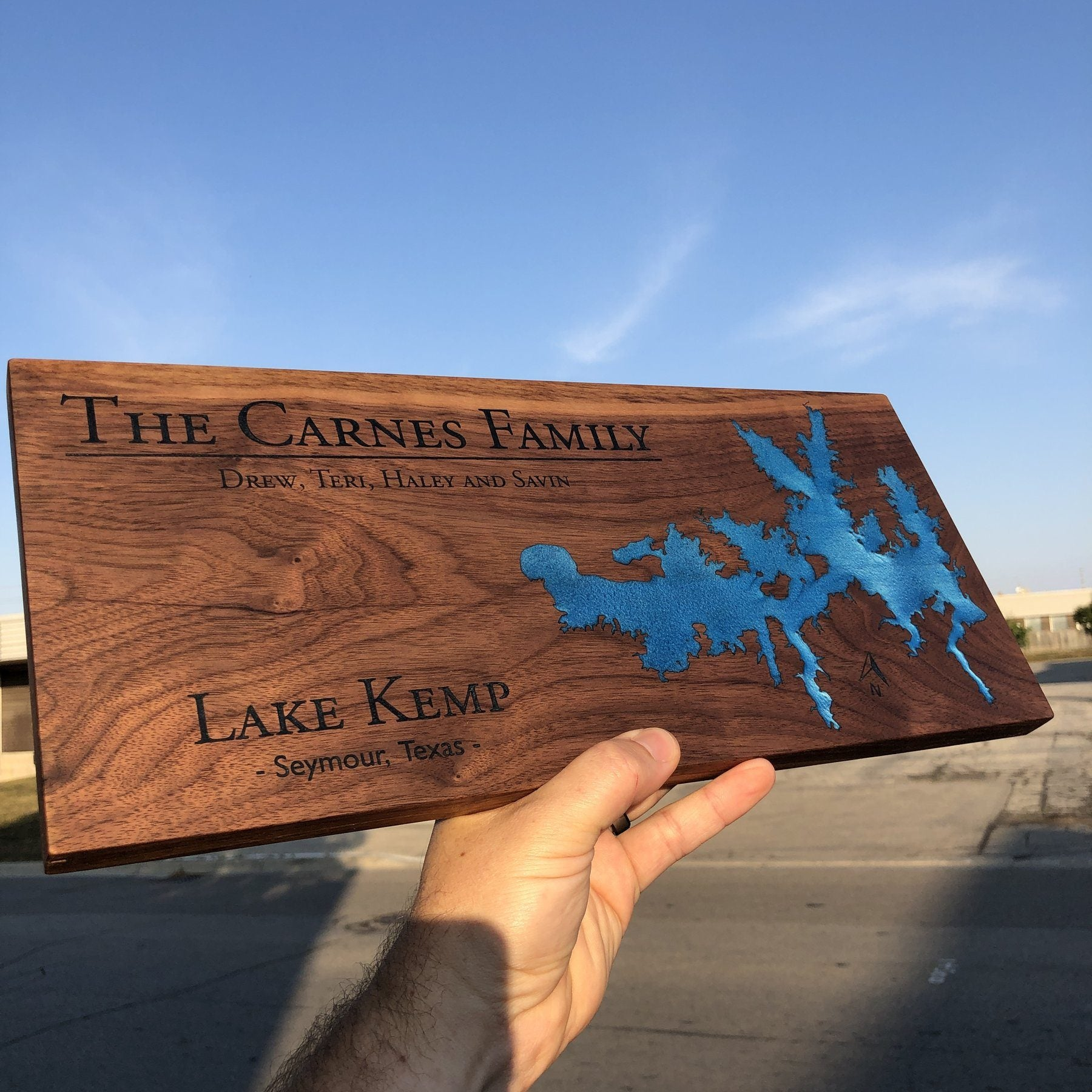 Detailed Custom Designed Lake Board with Lake Kemp and Blue Epoxy by Keyway Designs