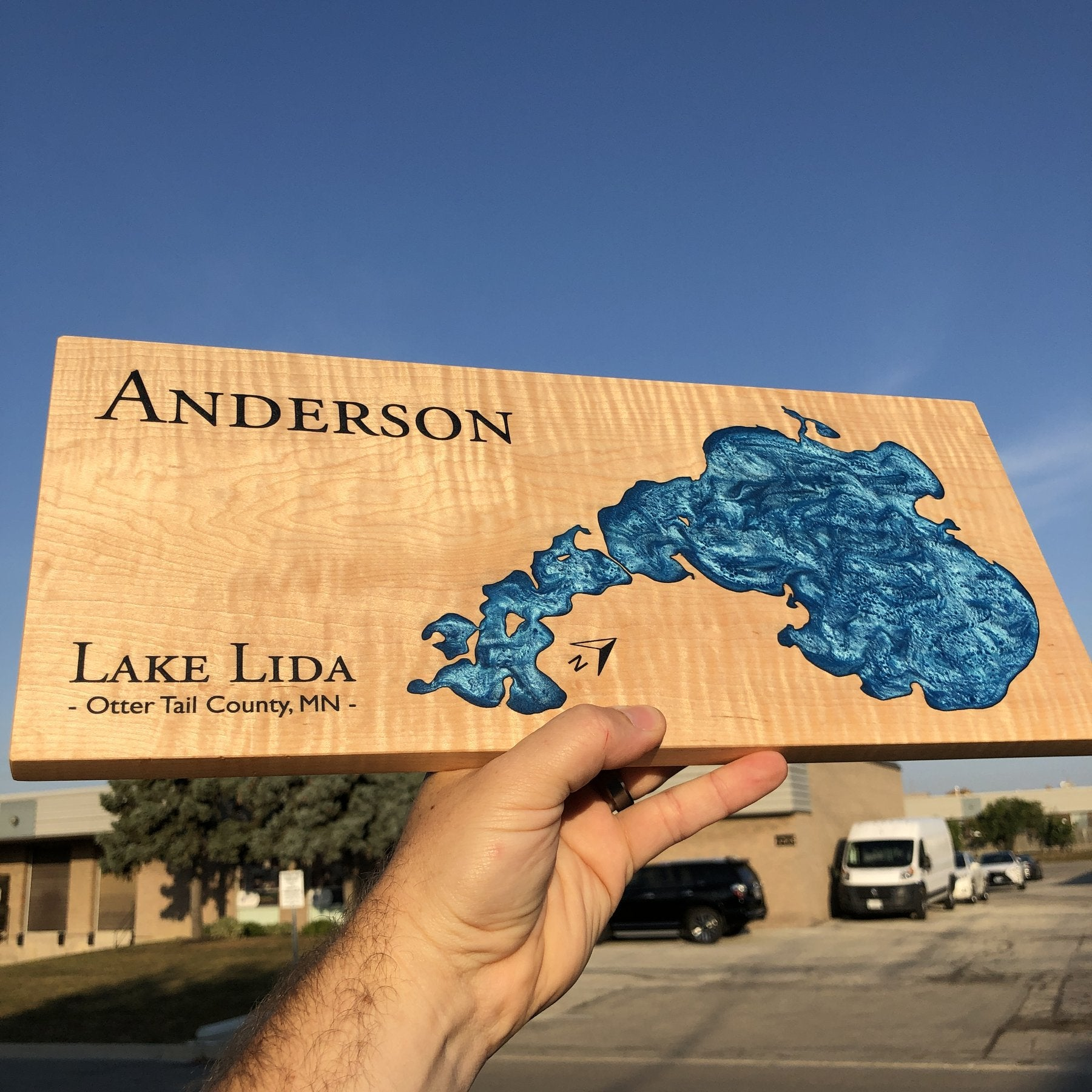 Custom Lake Art featuring Lake Lida on Curly Maple with Blue Epoxy by Keyway Designs