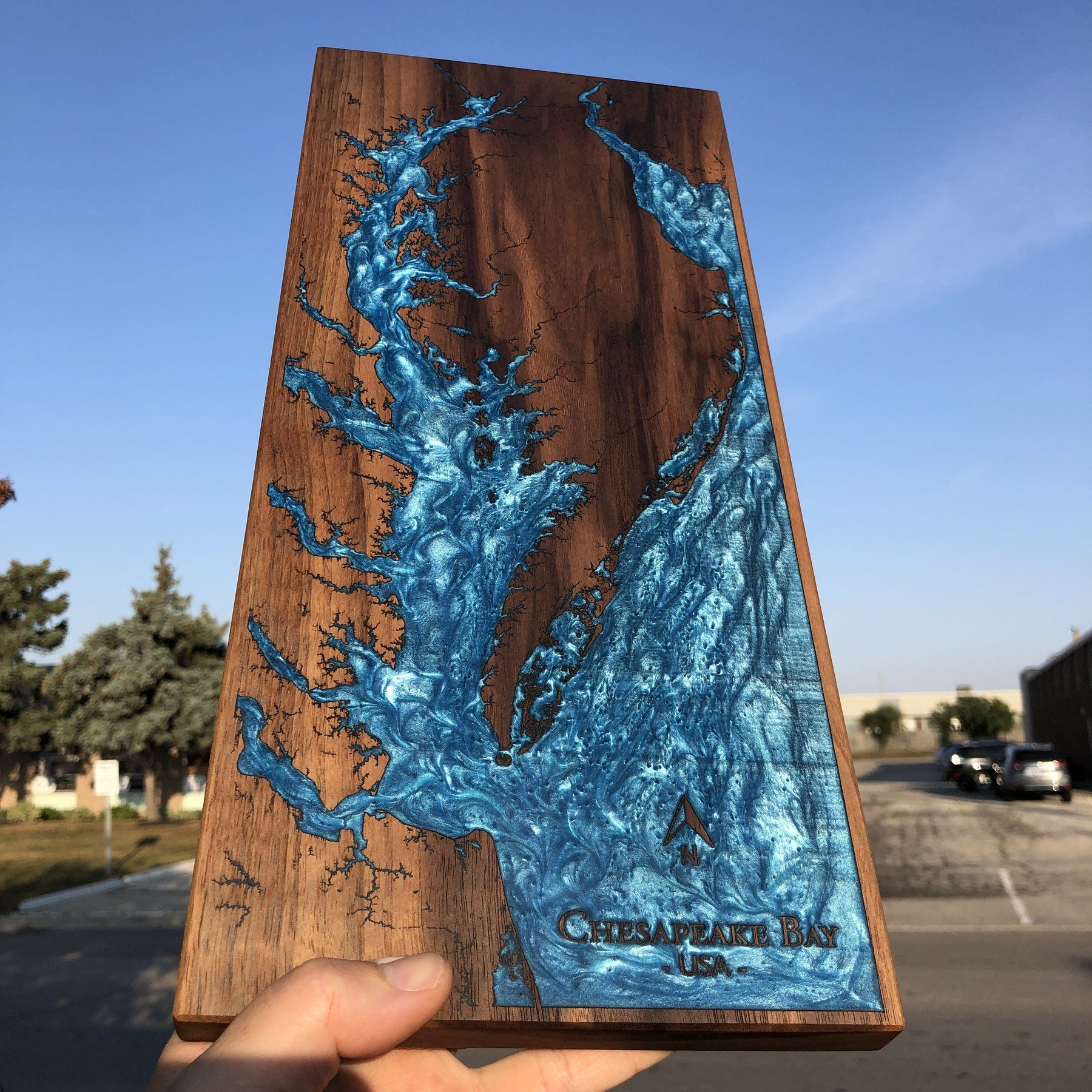 Detailed Laser Engraved Coastline wall Art using Walnut and Blue Epoxy by Keyway Designs