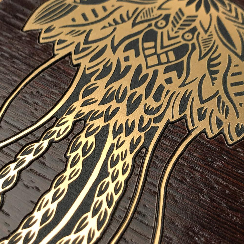 Zoomed in detailed shot of the Jellyfish by Pavneet Sembhi Gold Wenge Wood iPhone 6 Case by Keyway Designs