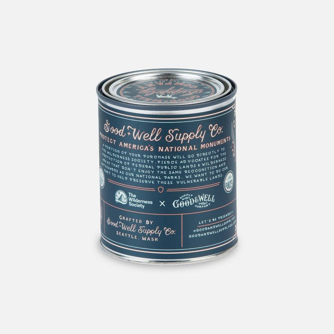 Back Panel - The Katahdin Woods & Waters National Monument Candle from Good & Well Supply Co.