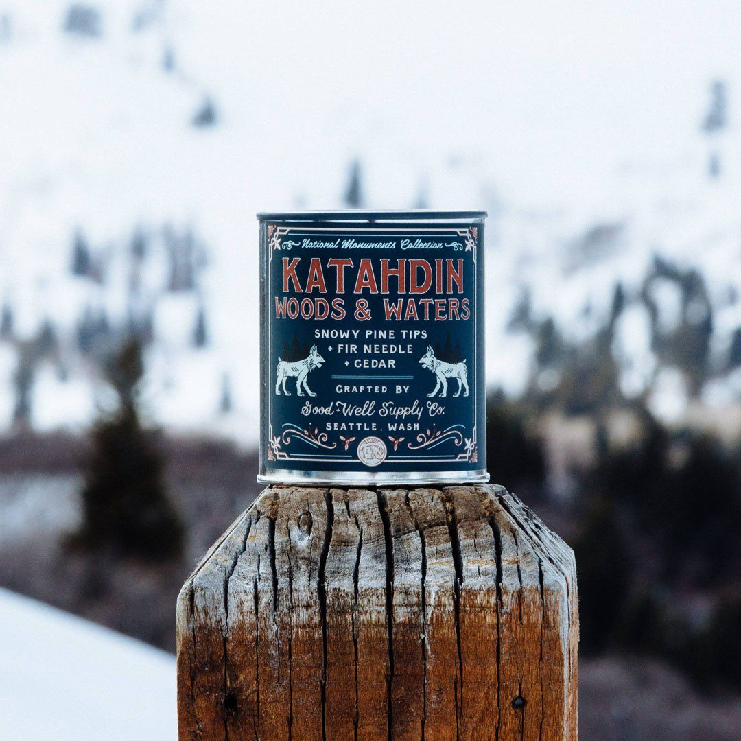 The Katahdin Woods & Waters National Monument Candle from Good & Well Supply Co. in the Wild.