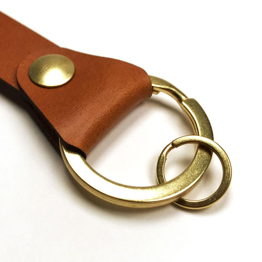 Sling Clip Leather Key Chain by Keyway Designs - Whiskey - Key Ring Zoom
