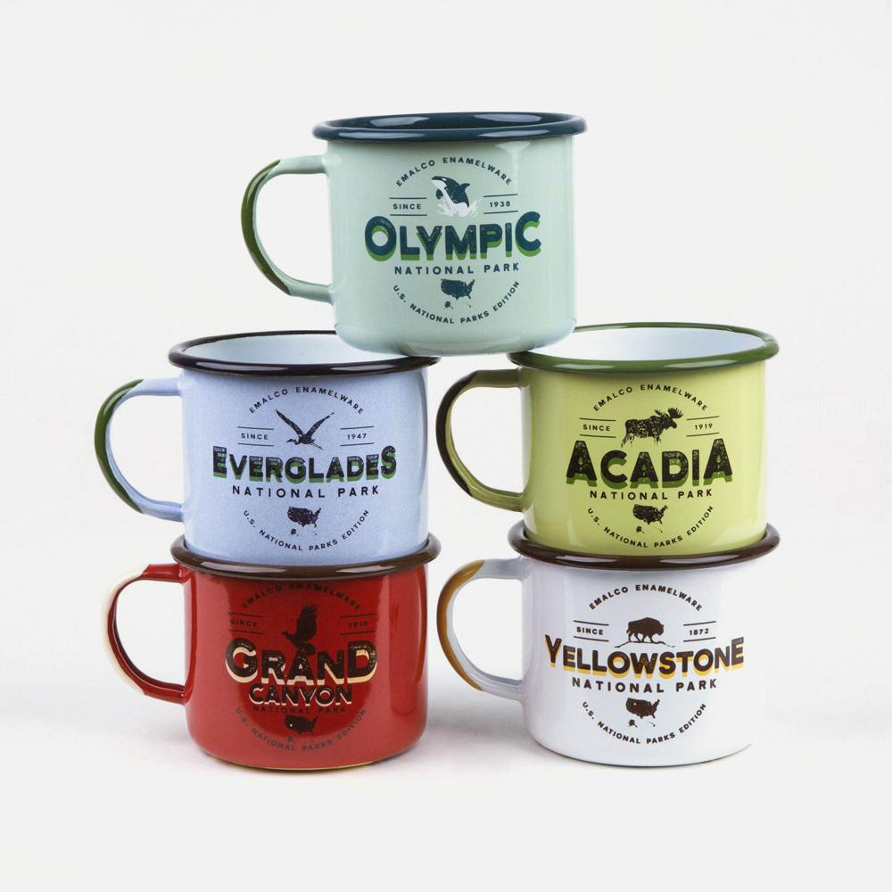 KEYWAY | Emalco - Grand Canyon Large Enamel Mug, Handcrafted by Artisans in Poland, Selection Group Shot