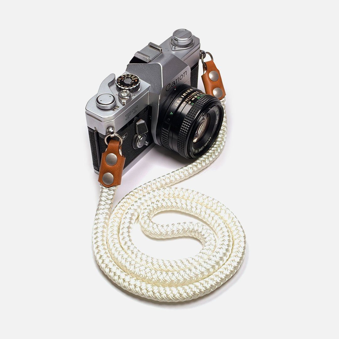 Camera Neck Strap. Leather, Brass and Nylon. Designed and Produced in Canada by Keyway Designs.