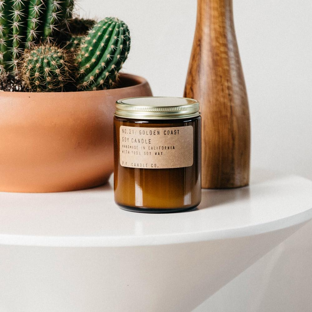 P.F. Candle - No.21: Golden Coast Soy Wax Jar Candle Screw Top Lid