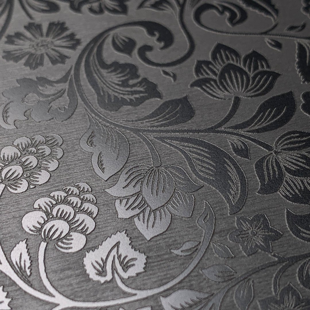 Zoomed in detailed shot of the highly detailed midnight floral engraving on matte black impact acrylic Galaxy S20+ Case by Keyway Designs