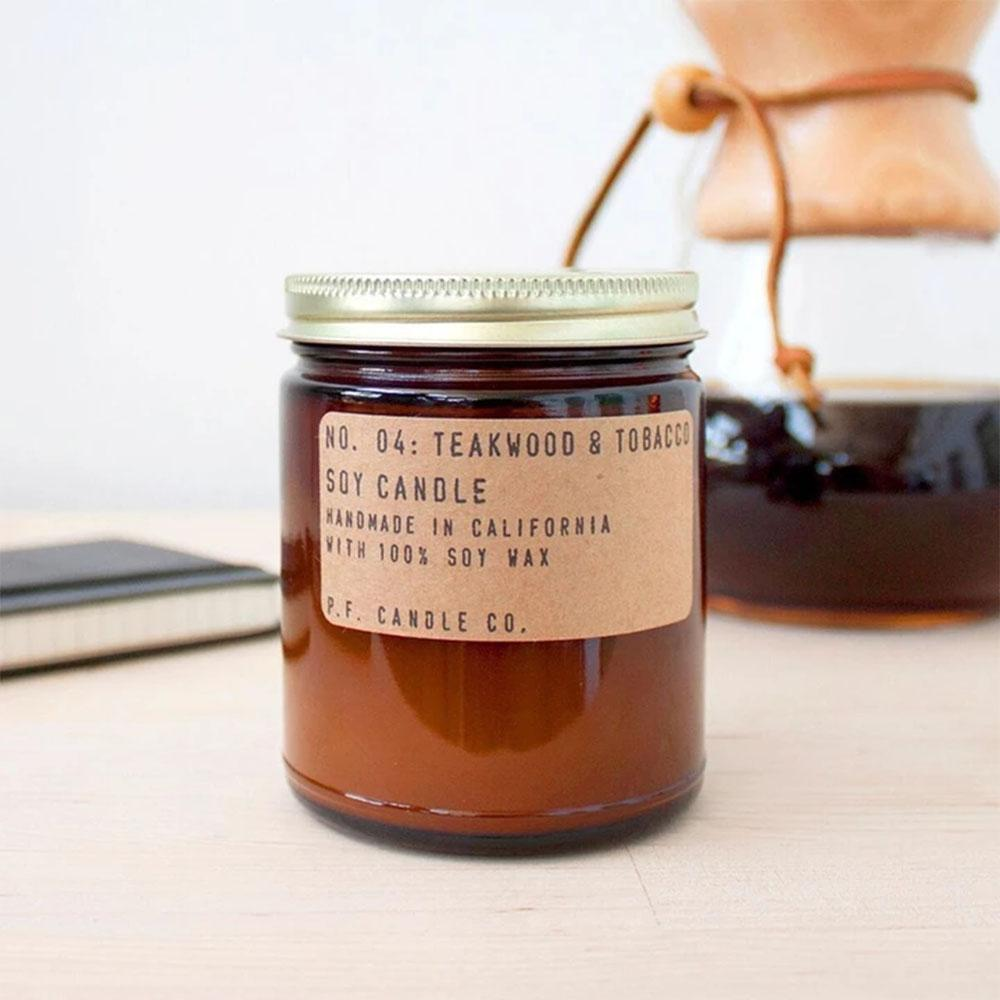 P.F. Candle - No.04: Teakwood Tobacco Soy Wax Jar Candle Styled Shot