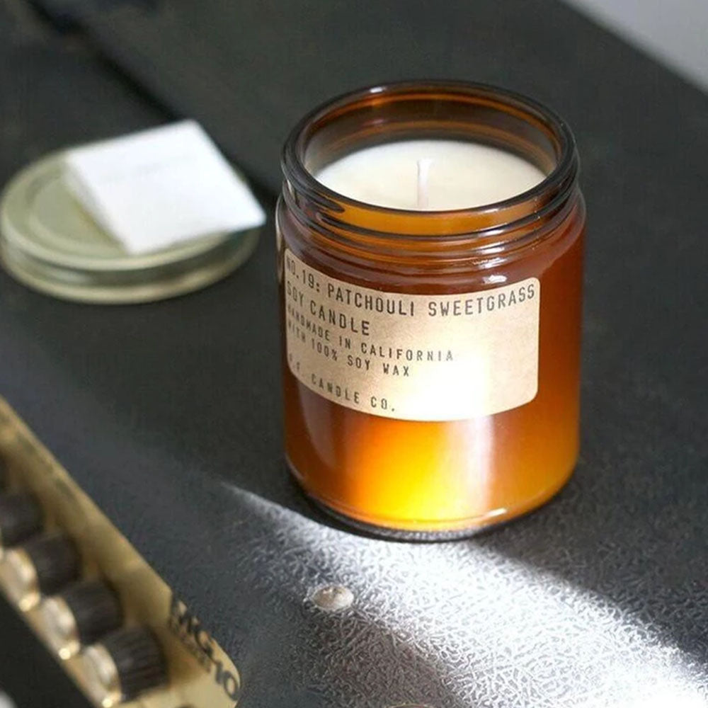 P.F. Candle - No.19: Patchouli Sweetgrass Soy Wax Jar Candle Styled Shot