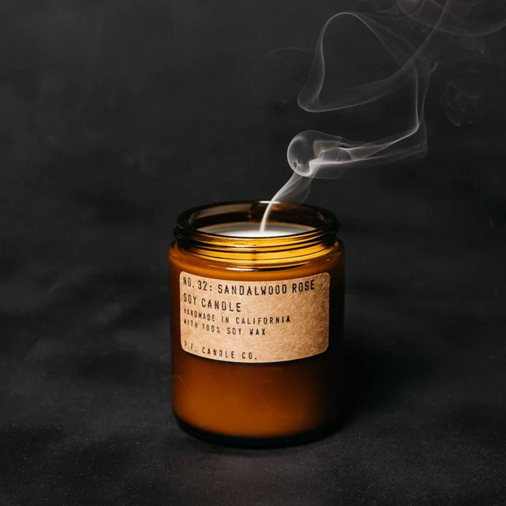 P.F. Candle - No.32: Sandlewood Rose Soy Wax Jar Candle Styled Shot