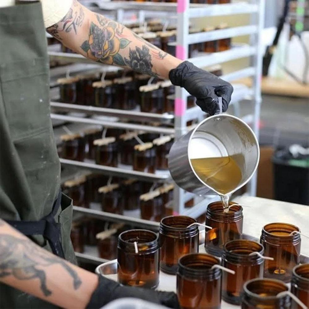 Sandlewood Rose candles being made.