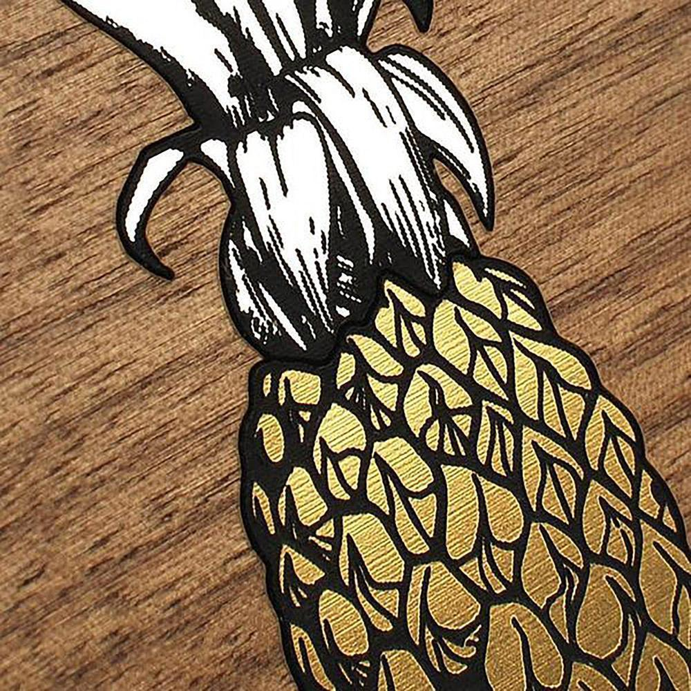 Zoomed in detailed shot of the Pineapple Walnut Wood iPhone XR Case by Keyway Designs