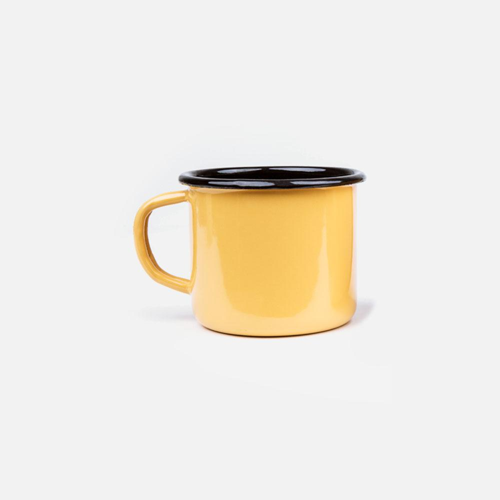 KEYWAY | Emalco - Plain Apricot Enamel Mug, Handcrafted by Artisans in Poland, Front View