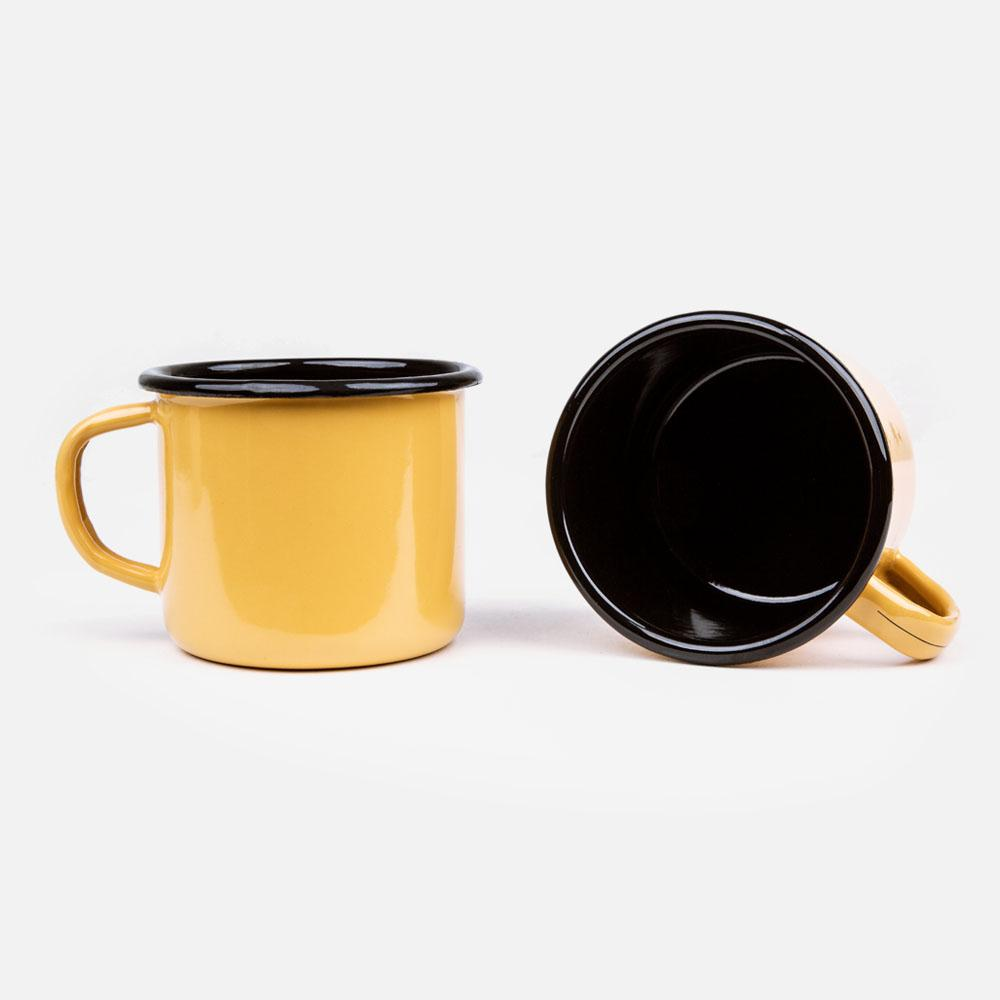 KEYWAY | Emalco - Plain Apricot Enamel Mug, Handcrafted by Artisans in Poland, Inside View