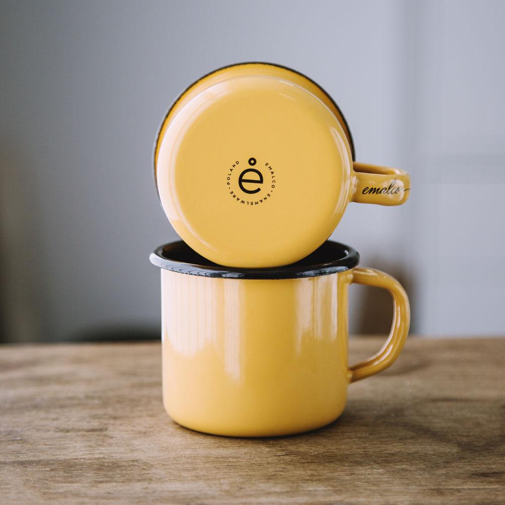 KEYWAY | Emalco - Plain Apricot Enamel Mug, Handcrafted by Artisans in Poland, Stacked View